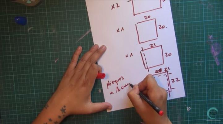 muestra de piezas a cortar para la estructura del álbum scrapbooking