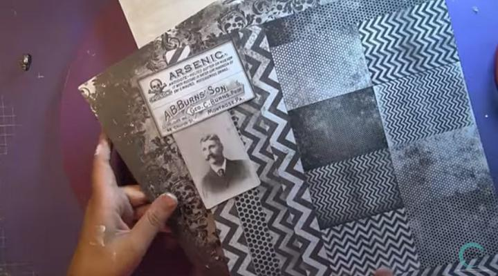 papel gris y negro para decorar el mixed media