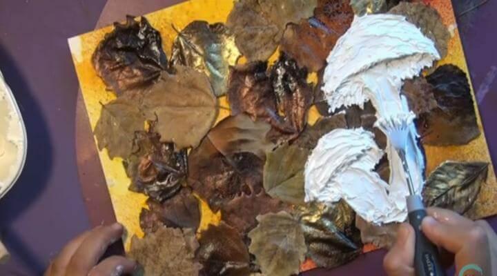 crear el mixed media con setas de pasta de textura